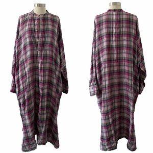 45R Japan Oversized Plaid Tunic Dress